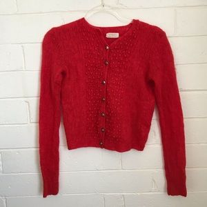 Vintage 1950s Cherry Red Delicate Sweater